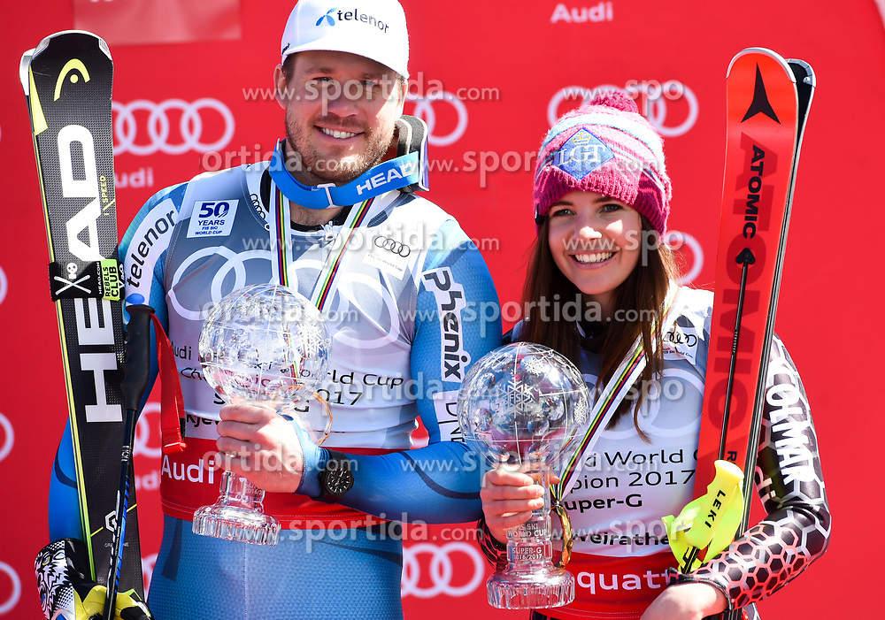 16.03.2017, Aspen, USA, FIS Weltcup Ski Alpin, Finale 2017, SuperG, Herren, Siegerehrung, im Bild Kjetil Jansrud (NOR, Sieger Super G Weltcup), Tina Weirather Super G Weltcup Siegerin // during the winner award ceremony for the men's Super-G of 2017 FIS ski alpine world cup finals. Aspen, United Staates on 2017/03/16. EXPA Pictures © 2017, PhotoCredit: EXPA/ Erich Spiess
