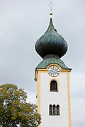 Parish church with traditional onion dome at Grassau in Baden-Wurttenberg, Bavaria, Germany