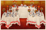 Arrangement of tables for a buffet supper.  Oleograph from 'Household Management' by Isabella Beeton (London, 1906).