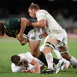 DURBAN, SOUTH AFRICA - JUNE 09, Frans Steyn tackled by Chris Robshaw (capt,) during the 1st Castle Lager Incoming Tour test match between South Africa and England from Mr Price Kings Park on June 09, 2012 in Durban, South Africa<br /> Photo by Steve Haag / Gallo Images