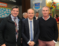 Ciaran Geraghty, Fergus Seoige Principal Scoil Padraig and Mickey Carney at the official opening of Scoil Phadraig Westport on friday last.<br /> Pic Conor McKeown