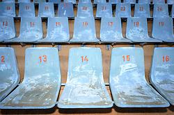 Blue seats in the Loftus Versfeld Stadium in Tshwane / Pretoria, South Africa. Venue for the FIFA Confederations Cup South Africa 2009 and the 2010 FIFA World Cup in South Africa. The stadium was named after Robert Owen Loftus Versfeld, the founder of organized sports in Pretoria.