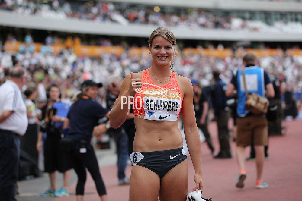 Dafne Schippers of Holland after winning the Woman 100m during the Sainsbury's Anniversary Games at the Queen Elizabeth II Olympic Park, London, United Kingdom on 25 July 2015. Photo by Phil Duncan.