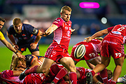 Jonathan Evans (#21) of Scarlets clears the ball during the Guinness Pro 14 2019_20 match between Edinburgh Rugby and Scarlets at BT Murrayfield Stadium, Edinburgh, Scotland on 26 October 2019.