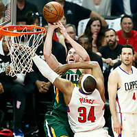 30 April 2017: Utah Jazz forward Gordon Hayward (20) is fouled by LA Clippers forward Paul Pierce (34) during the Utah Jazz 104-91 victory over the Los Angeles Clippers, during game 7 of the first round of the Western Conference playoffs, at the Staples Center, Los Angeles, California, USA.