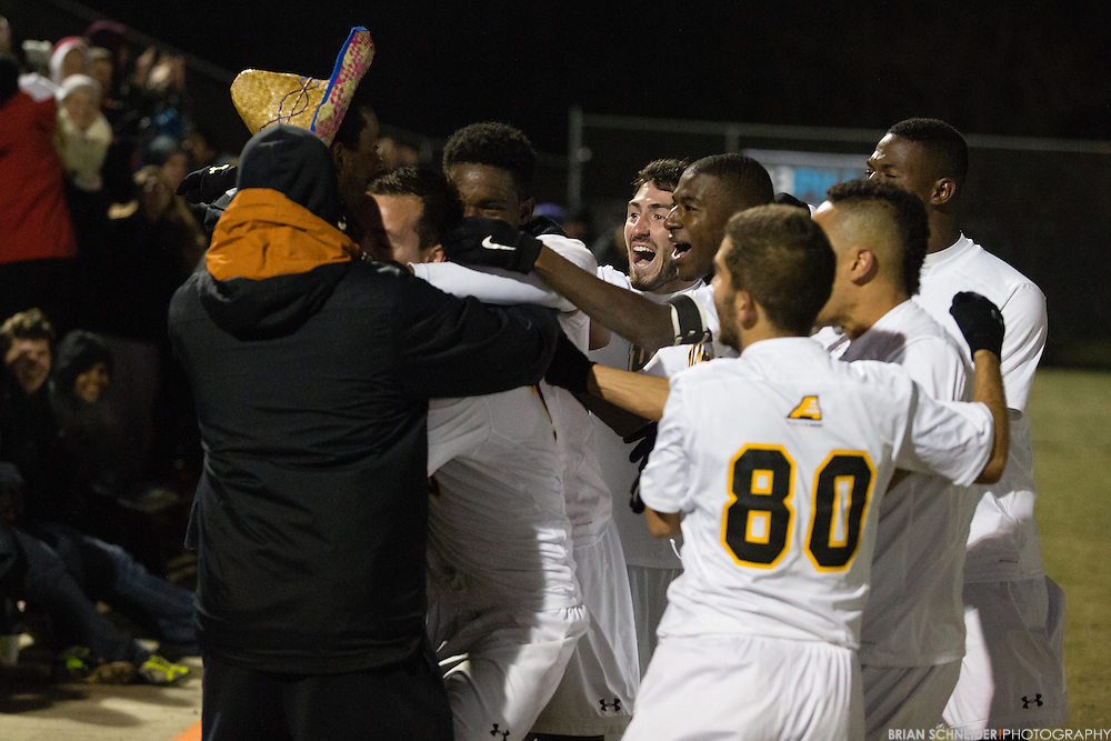 Nov 15, 2014; Baltimore, MD, USA; The UMBC Retrievers beat the Hartford Hawks 2-1 in the America East Conference Championship game at the Retriever Soccer Park in Baltimore, MD. Mandatory Credit: Brian Schneider-www.ebrianschneider.com