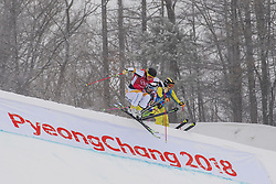 February 23, 2018 - Pyeongchang, SOUTH KOREA - 180223 Sandra Näslund of Sweden, Nikol Kucerova of Czech Republic and Julia Eichinger of Germany competes in the Women's Freestyle Skicross 1/8 Final during day fourteen of the 2018 Winter Olympics on February 23, 2018 in Pyeongchang..Photo: Joel Marklund / BILDBYRÃ…N / kod JM / 87646 (Credit Image: © Joel Marklund/Bildbyran via ZUMA Press)