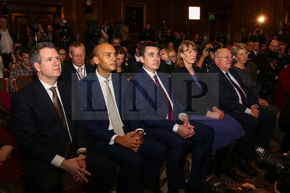 © Licensed to London News Pictures. 20/02/2019. London, UK. Independent Group members Luciana Berger, Ann Coffey, Mike Gapes, Chris Leslie, Gavin Shuker, Angela Smith, Chuka Umunna and Joan Ryan attend the press conference, Former Conservative MPs Anna Soubry, Sarah Wollaston and Heidi Allen hold news conference after leaving the party for Independent Group in Westminster. Photo credit: Dinendra Haria/LNP