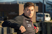 Marcus Godinho (#26) of Heart of Midlothian speaking to the media during the Heart of Midlothian press conference ahead of the match against Motherwell, at Oriam Sports Performance Centre, Edinburgh, Scotland on 15 February 2019.