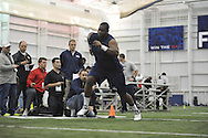 Mississippi lineman Emmanuel McCray runs through a drill during Pro Day, in Oxford, Miss. on Monday, March 3, 2014. (AP Photo/Oxford Eagle, Bruce Newman)