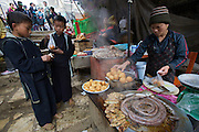 Sapa Market. Black Hmong hilltribe woman selling sausage, dumplings and pigs' feet.