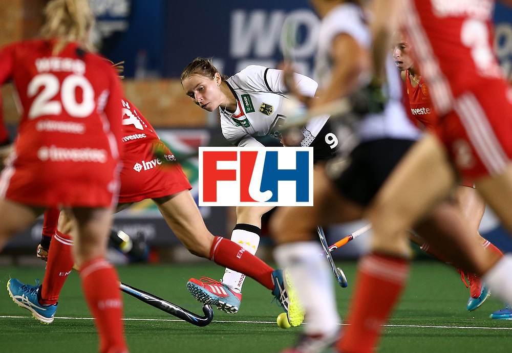 JOHANNESBURG, SOUTH AFRICA - JULY 14:  Elisa Grave of Germany passes the ball during day 4 of the FIH Hockey World League Women's Semi Finals Pool A match between Germany and England at Wits University on July 14, 2017 in Johannesburg, South Africa.  (Photo by Jan Kruger/Getty Images for FIH)