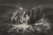 Crimean (Russo-Turkish) War (1853-1856):  Battlefield on the night after Alma, 20 September 1854, tending the wounded and recovering the bodies of the dead.  Engraving.