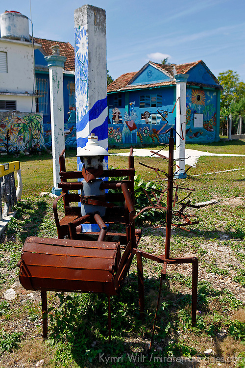 Central America, Cuba, Caibarien. Caibarien public art park near studio of Mayelin Perez Noa, created when a hurricane destroyed the house that stood on the property.
