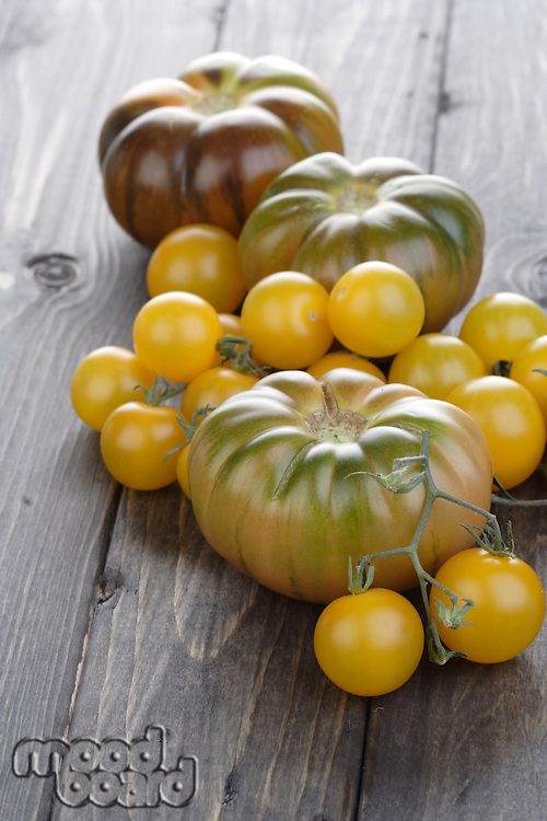 Mix tomatoes on wooden table