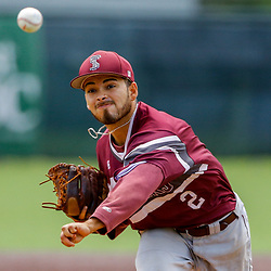 Texas Southern pitcher Anthony Martinez (2) throws against the Alabama State during the bottom of the first inning of the SWAC baseball championship final in New Orleans, La. Sunday, May 21, 2017.