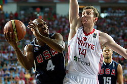 Chauncey Billups of USA vs Omer Asik of Turkey during the finals basketball match between National teams of Turkey and USA at 2010 FIBA World Championships on September 12, 2010 at the Sinan Erdem Dome in Istanbul, Turkey.   (Photo By Vid Ponikvar / Sportida.com)