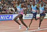 Timothy Cheruiyot (KEN) defeats Elijah Manangoi (KEN) and Silas Kiplagat (KEN) to win the 1,500m in 3:33.93 during the Weltklasse Zurich in an IAAF Diamond League meeting at Letzigrund Stadium in Zurich, Switzerland on Thursday, August 24, 2017.   (Jiro Mochizuki/Image of Sport)