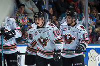 KELOWNA, CANADA - OCTOBER 13: Jakob Stukel #10 of the Calgary Hitmen celebrates a second period goal against the Kelowna Rockets on October 13, 2017 at Prospera Place in Kelowna, British Columbia, Canada.  (Photo by Marissa Baecker/Shoot the Breeze)  *** Local Caption ***