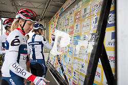 Lotta Lepistö (FIN) of Cervélo-Bigla Cycling Team and the rest of the team signs on before the Aviva Women's Tour 2016 - Stage 1. A 138.5 km road race from Southwold to Norwich, UK on June 15th 2016.