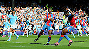 Bakary Sako with a powerful shot just over during the Barclays Premier League match between Crystal Palace and Manchester City at Selhurst Park, London, England on 12 September 2015. Photo by Michael Hulf.