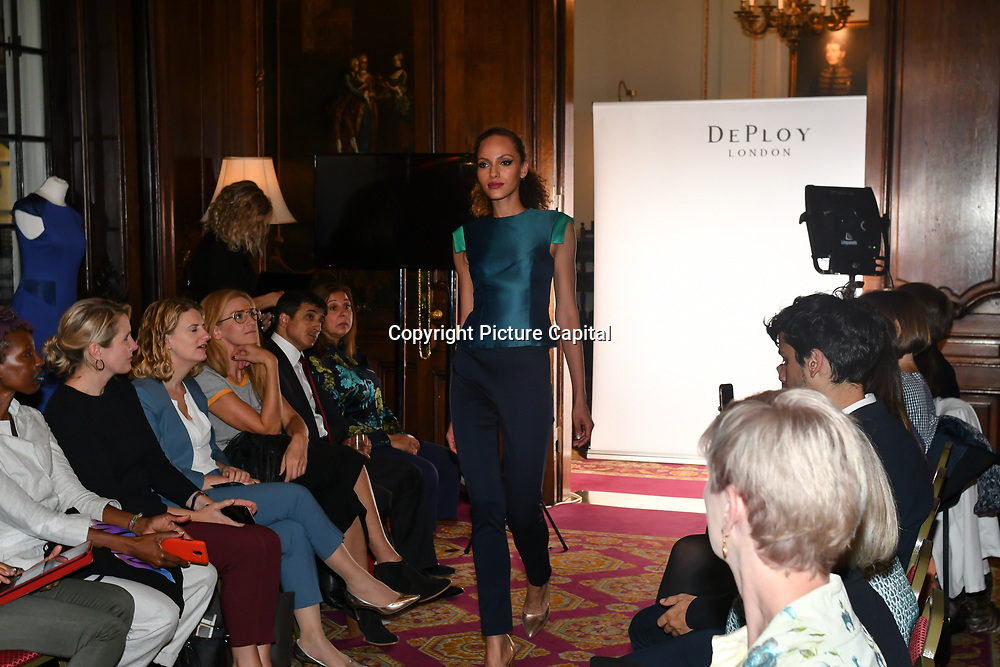 Bernice Pan - Founder & Creative Director - DEPLOY London showcases is latest catwalk show DEPLOY AW18 Collection with partner Claudia Simms and Tosin Trim and talk at The Oriental Club, UK. 23 September 2018.