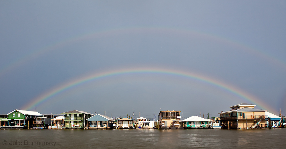 Rainbow over a bayou in Venice Louisiana