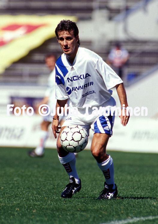 09.07.1995, Olympic Stadium, Helsinki, Finland..Pierre Littbarski in action in the farewell match of Pasi Rautiainen.©JUHA TAMMINEN