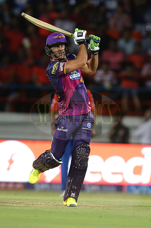 Faf Du Plessis  of RPS plays a shot during match 6 of the Vivo IPL 2016 ( Indian Premier League ) between the Gujarat Lions and the Rising Pune Supergiants held at Saurashtra Cricket Association Stadium, Rajkot, India on the 14th April 2016<br /> <br /> Photo by Rahul Gulati  / IPL/ SPORTZPICS