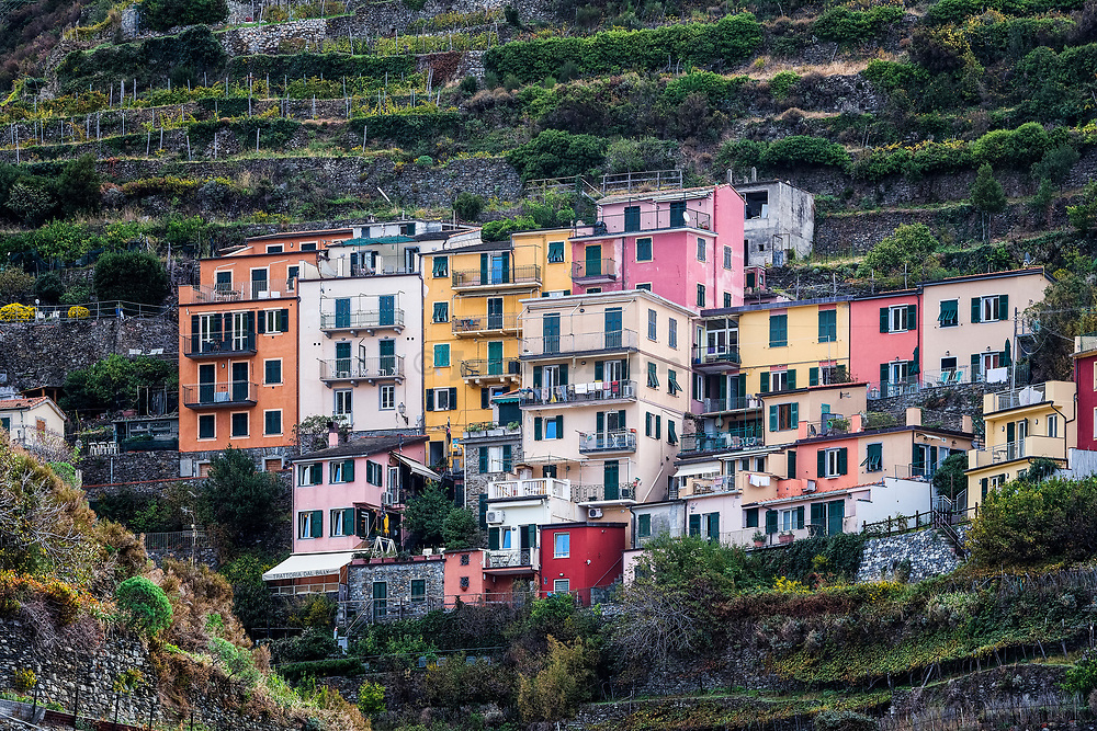 Charming architecture in the village of Manarola, Cinque Terre,  Liguria, Italy.