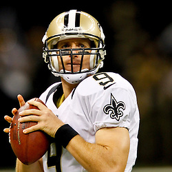 September 9, 2012; New Orleans, LA, USA; New Orleans Saints quarterback Drew Brees (9) prior to kickoff of a game against the Washington Redskins at the Mercedes-Benz Superdome. Mandatory Credit: Derick E. Hingle-US PRESSWIRE