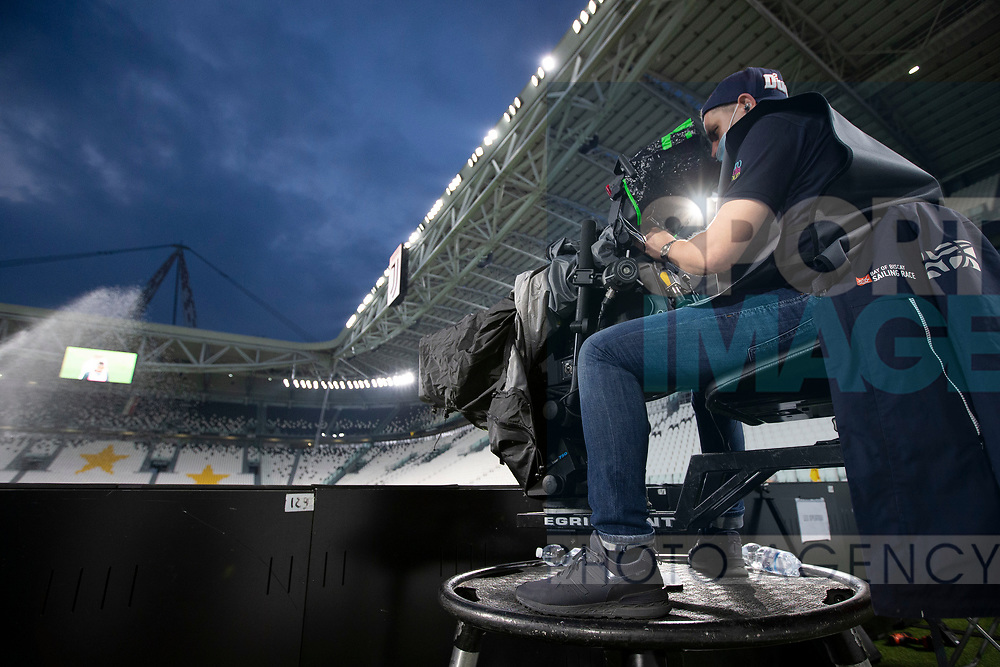 A ptichiside television camera during the Serie A match at Allianz Stadium, Turin. Picture date: 26th June 2020. Picture credit should read: Jonathan Moscrop/Sportimage
