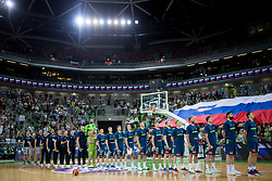 Players of team Slovenia during basketball match between Slovenia and Spain in Round #5 of FIBA Basketball World Cup 2019 European Qualifiers, on June 28, 2018 in SRC Stozice, Ljubljana, Slovenia. Photo by Urban Urbanc / Sportida