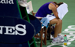 Jelena Jankovic of Serbia retires with an injury in her match  against Anastasiya Yakimova of Belarus  at 2nd Round of Singles at Banka Koper Slovenia Open WTA Tour tennis tournament, on July 22, 2010 in Portoroz / Portorose, Slovenia. (Photo by Vid Ponikvar / Sportida)