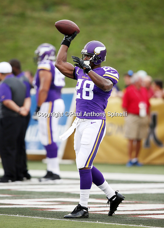 Minnesota Vikings running back Adrian Peterson (28) throws a pass while warming up before the 2015 NFL Pro Football Hall of Fame preseason football game against the Pittsburgh Steelers on Sunday, Aug. 9, 2015 in Canton, Ohio. The Vikings won the game 14-3. (©Paul Anthony Spinelli)