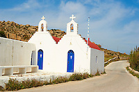 Grèce, Les Cyclades, Ile de Mykonos, église à l'interieur de l'ile // Greece, Cyclades, Mykonos island, church inside the island