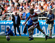 Sam Tomkins of Wigan Warriors kicks the goal against Warrington  Wolves during the Betfred Super League match   at the Dacia Magic Weekend, St. James's Park, Newcastle<br /> Picture by Stephen Gaunt/Focus Images Ltd +447904 833202<br /> 19/05/2018