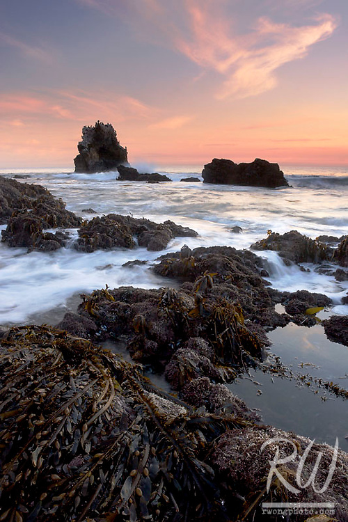Low Tide and Arch Rock at Sunset, Little Corona Del Mar Beach, California