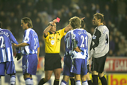 WIGAN, ENGLAND - TUESDAY, JANUARY 31st, 2006: Everton's Duncan Ferguson gets sent off during the Premiership match against Wigan Athletic at the JJB Stadium. (Pic by Chris Brunskill/Propaganda)