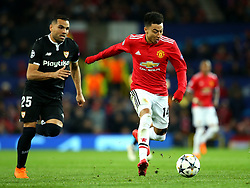 Jesse Lingard of Manchester United goes past Gabriel Mercado of Sevilla - Mandatory by-line: Robbie Stephenson/JMP - 13/03/2018 - FOOTBALL - Old Trafford - Manchester, England - Manchester United v Sevilla - UEFA Champions League Round of 16 2nd Leg