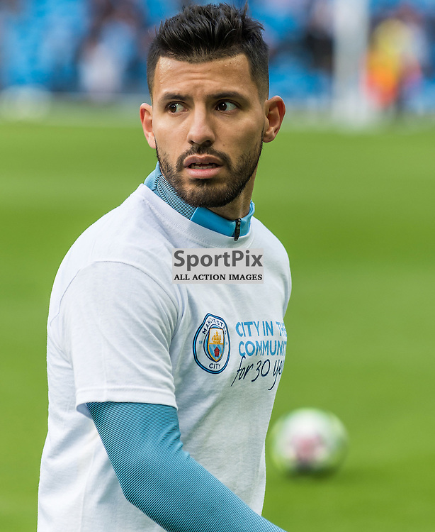 Manchester City forward Sergio Aguero (10) before the Premier League match between Manchester City and Southampton<br /> <br /> (c) John Baguley | SportPix.org.uk