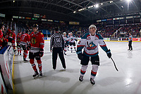 KELOWNA, CANADA - MARCH 3:  Ted Brennan #10 of the Kelowna Rockets celebrates a first period goal against the Portland Winterhawks on March 3, 2019 at Prospera Place in Kelowna, British Columbia, Canada.  (Photo by Marissa Baecker/Shoot the Breeze)