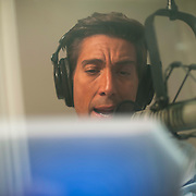 "August 29, 2014 - New York, NY : News Anchor David Muir does tracking for a 20/20 investigative piece in the ABC News building on West 66th Street on Friday afternoon. David Muir is taking over for Diane Sawyer as anchor of ABC's ""World News Tonight."" CREDIT: Karsten Moran for The New York Times"