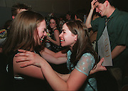 BOSTON- High School Drama Awards-. Globe Photo by Bethany Versoy. Jackie Barry, left, and Kim Carpenter celebrate after learning that their drama group from Reading High School were the winners of the State High School Drama Festival.RESTRICTED USE.NOT FOR REPBULICATION WITHOUT EXPLICIT APPROVAL FROM DIRECTOR OF PHOTOGRAPHY.