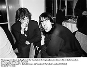 Mick Jagger &amp; Liam Gallagher at the Vanity Fair Swinging London dinner. River Cafe, London. 20 November 1996. Film 96631f15<br />
