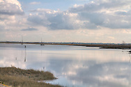 The river Blackwater at Maldon. The sky is reflected in the water on a still clear day