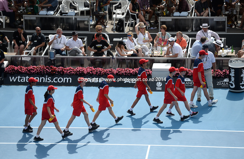 Ball kids. Women's singles final. Ana Ivanovic versus Venus Williams at the ASB Classic Women's International. ASB Tennis Centre, Auckland, New Zealand. Saturday 4 January 2014. Photo: Andrew Cornaga www.photosport.co.nz