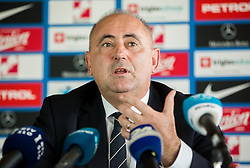 Radenko Mijatovic, president of NZS announcing resignation of Tomaz Kavcic as a head coach of Slovenia during press conference 1 day after football match between National Teams of Slovenia and Cyprus in Final Tournament of UEFA Nations League 2019, on October 17, 2018 in NNC Brdo pri Kranju, Slovenia. Photo by Vid Ponikvar / Sportida