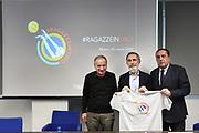 """Giovanni Petrucci, Marco Crespi, Massimo Protani<br /> Conferenza Stampa Presentazione Progetto """"Ragazze in Tiro""""<br /> FIP 2018<br /> Milano, 30/03/2018<br /> Foto F. Bertani / Ciamillo - Castoria"""