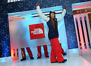 Maddie Bowman, U.S. Freeskiing hopeful, shows off the women's official halfpipe U.S. Freeskiing Competition Uniform designed and manufactured by The North Face, Monday, October 28, 2013, in New York. (Photo by Diane Bondareff/Invision for The North Face/AP Images)